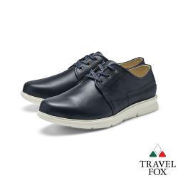 TRAVEL FOX(男)都會派 寬楦舒適綁帶彈性大底休閒鞋 - 雙料黑
