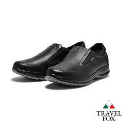 TRAVEL FOX(男) 菁英 歐洲進口全牛皮直套可調鞋口減壓休閒鞋 - 品味黑