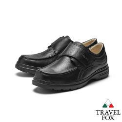 TRAVEL FOX(男) 大齡男子 牛皮輕量大底側釦式都會舒適休閒鞋 - 方便黑