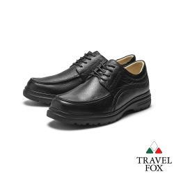 TRAVEL FOX(男) 大齡男子 牛皮輕量大底綁帶都會舒適休閒鞋 - 完美黑