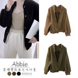【Abbie】韓系厚磅學院風毛呢外套