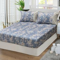 FITNESS 精梳棉雙人加大床包枕套三件組-緲緲煙花(灰藍)
