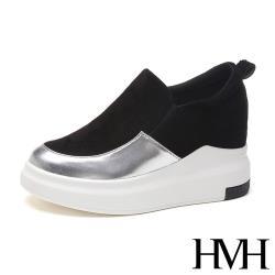 【HMH】時尚亮面皮革拼接厚底內增高舒適樂福鞋 黑