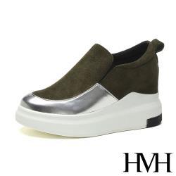 【HMH】時尚亮面皮革拼接厚底內增高舒適樂福鞋 軍綠