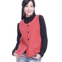 噶瑪蘭桃型領緹花貼式口袋短版背心外套EK5930-02A