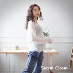 Secret Closet-早秋V領寬鬆針織上衣