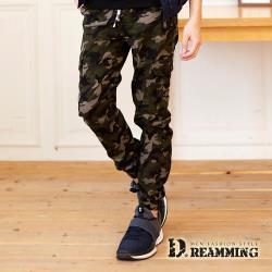 【Dreamming】戰鬥迷彩抽繩多口袋休閒縮口長褲 工裝褲(軍綠)