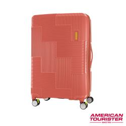 AT美國旅行者 30吋Velton 跳色幾何防盜拉鍊可擴充剎車輪行李箱(磚紅)-GL7*90011