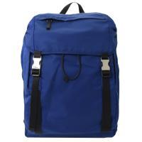 PRADA 2VZ062 三角LOGO尼龍帆布硬式束口後背包.藍色