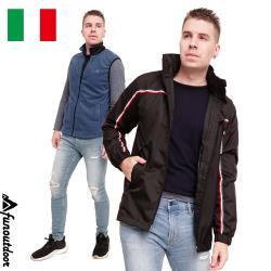 【戶外趣】情侶男款義大利橫條鈕扣立領全防風防水兩件式連帽背心外套 ( HMJ004 黑藍 )