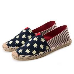【Alice】(現貨+預購)藍色小星粗紅條草編休閒帆布鞋