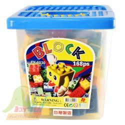 Playful Toys 頑玩具 方形桶裝積木168片 626030 (大顆粒 台灣製造 積木 樂高相容 優質積木 益智 趣味 兒童玩具)