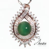 【Aasta Jewelry】5克拉天然翡翠藍寶墜奢華T鑽墜玫瑰金款