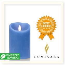【Luminara 擬真火焰 蠟燭】天空藍海洋香氛光滑蠟燭禮盒(中)+ 加贈充電電池組