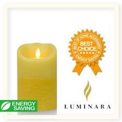【Luminara 擬真火焰 蠟燭】鵝黃雙色漸層香草香氛水紋蠟燭禮盒(中)+ 加贈充電電池組
