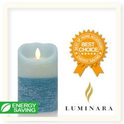 【Luminara 擬真火焰 蠟燭】地中海藍雙色漸層海洋香氛水紋蠟燭禮盒(中)+ 加贈充電電池組