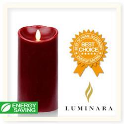 【Luminara 盧擬真火焰 蠟燭】 耶誕紅肉桂香氛光滑蠟燭禮盒(中)+ 加贈充電電池組