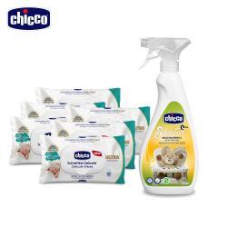 chicco-多功能抗菌清潔噴霧+超純淨潔膚柔濕巾(60抽)x6