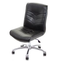 GXG 短背皮面 無扶手電腦椅 可後躺/鋁合金腳  TW-1008 LUK
