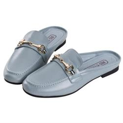 Robinlo 海軍風織帶金屬飾扣真皮平底穆勒鞋 LENORE-藍色