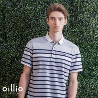 oillio歐洲貴族 男裝 短袖柔軟吸濕排汗透氣POLO衫 休閒紳士條紋 舒適彈力 灰色 - 男款 休閒服法國品牌 柔順手感 簡約電腦刺繡