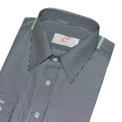 Chinjunshton細纖維抗皺商務襯衫、長袖,灰底白線條紋,編號T008-24
