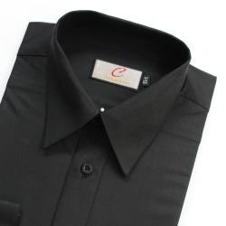 Chinjunshton細纖維抗皺商務襯衫、長袖,素色黑,編號P12