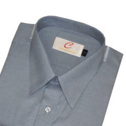 Chinjunshton細纖維抗皺商務襯衫、長袖,灰底灰斜紋,編號8090