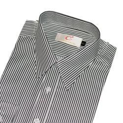 Chinjunshton細纖維抗皺商務襯衫、長袖,黑白相間條紋,編號588-4