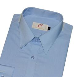 Chinjunshton細纖維抗皺商務襯衫、長袖,素色藍,編號P04