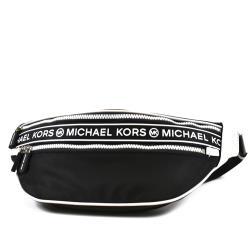 MICHAEL KORS 黑白配色高密度尼龍輕量拉鍊單肩包/腰包-黑色