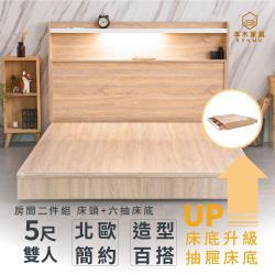 艾拉菈 北歐插座LED燈房間二件組收納升級款-雙人5尺 床頭+六抽收納底