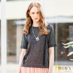 MONS 時尚金絲造型針織蕾絲上衣