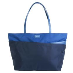 agnes b. 皮標尼龍拼接皮革肩背包-大/黑x藍