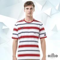 oillio歐洲貴族 男裝 短袖休閒圓領T恤 吸濕排汗 舒適透氣 夏日穿搭款 寬細條紋 休閒口袋 白色