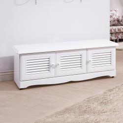 Boden-茉莉森4尺三門百葉坐鞋櫃/穿鞋椅/座式鞋櫃(白色)