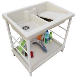 新式特大雙槽塑鋼水槽 洗衣槽 洗手台 白烤漆腳架 1入