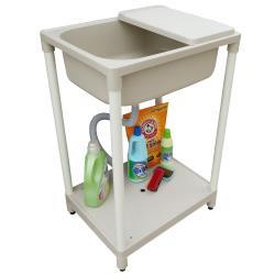 新式中型單槽塑鋼水槽 洗衣槽 洗手台(附洗衣板) 1入