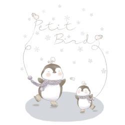 韓國Petit Bird竹纖維嬰幼兒防水保潔床墊  企鵝家族