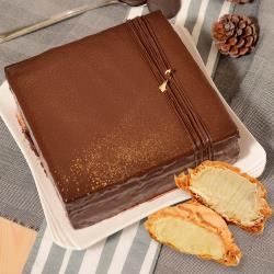 【艾波索】巧克力黑金磚方形(6吋x1入)(加贈冰心泡芙1入) |蘋果日報蛋糕評比冠軍|母親節蛋糕