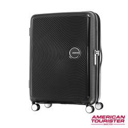 AT美國旅行者 30吋Curio立體唱盤防盜拉鍊硬殼可擴充TSA行李箱(黑)AO8*19003