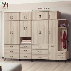 【伊本家居】庫洛馬 拉門收納置物衣櫃 寬120cm