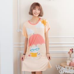 Young Curves 牛奶絲質短袖連身睡衣(C01-100715貓咪愛撐傘)