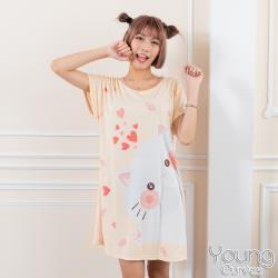 Young Curves 牛奶絲質短袖連身睡衣(C01-100712貓咪愛吃魚)
