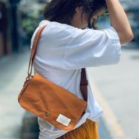 【米蘭精品】單肩包帆布側背包-復古翻蓋迷你郵差包男女包包4色73xo35