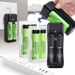18650新版通過BSMI認證充電式鋰單電池3350mAh(日本松下原裝正品)(4入)+智慧型認證雙槽快充*1+防潮盒*2