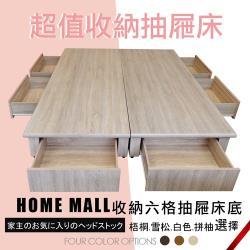 【HOME MALL-伊諾拉多功能六抽屜】雙人5尺床底(梧桐色)