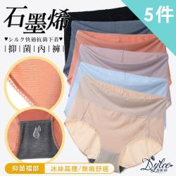 現貨+預購【Dylce 黛歐絲】3A級石墨烯大碼冰絲高腰內褲(超值5件組-隨機)