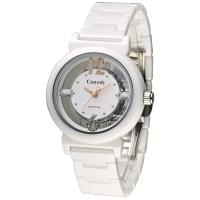Canody 雙鏤空時尚晶鑽陶瓷腕錶/ 玫瑰金/ 35mm/ CB1218-3B