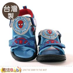 魔法Baby 男童鞋 台灣製蜘蛛人授權正版閃燈涼鞋 電燈鞋~sa09116